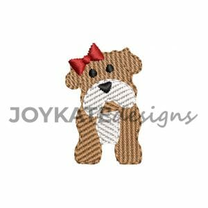 Light Fill Stitch Single Girl Bulldog Mini Design for Machine Embroidery