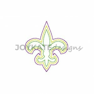 Mini Bean Stitch Fleur de Lis Design for Machine Embroidery