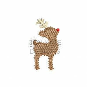 Rudolph reindeer mini light fill stitch machine embroidery design