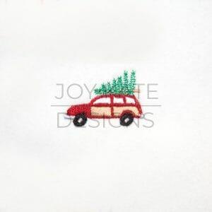 Station Wagon with Christmas Tree Mini Embroidery Design