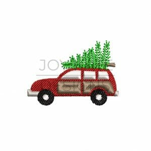 Station Wagon with Christmas Tree on Top Mini Design for Machine Embroidery