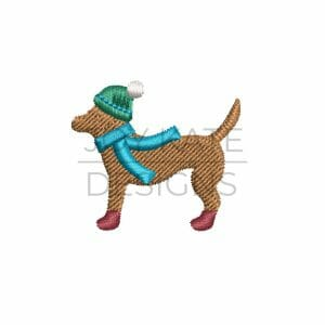 Winter Lab Dog with Hat, Scarf, and Boots Mini Design for Machine Embroidery