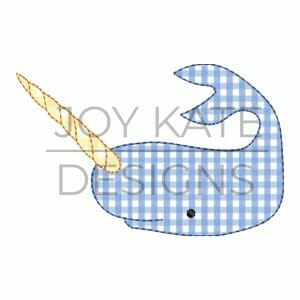 Vintage Narwhal Applique Design for Machine Embroidery