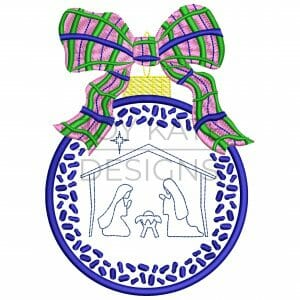 Chinoiserie Christmas Ornament with Nativity and Plaid Bow Machine Embroidery Design