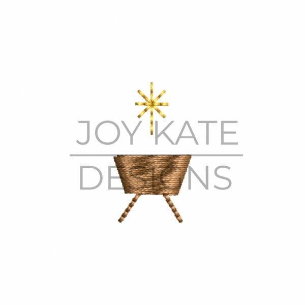 Mini Satin Fill Stitch Nativity Manger with Bethlehem Star Embroidery Design