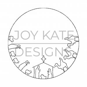 Nativity vintage circle frame embroidery design