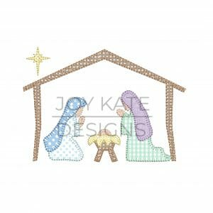 Vintage nativity applique design for machine embroidery with baby Jesus, Mary, and Joseph