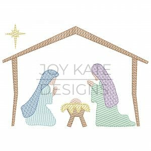 Vintage nativity light fill design for machine embroidery with baby Jesus, Mary, and Joseph