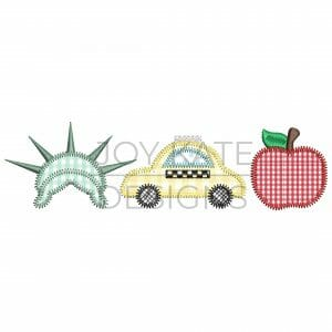 New York City Zigzag Applique Design for Machine Embroidery. Three in a row design includes statue of liberty, taxi cab car, and big apple.