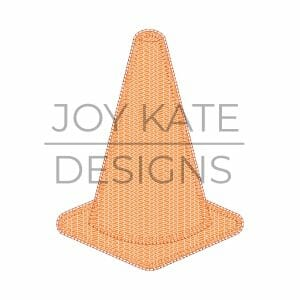 Blanket stitch construction traffic cone applique design for machine embroidery