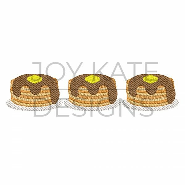Pancakes and Syrup Trio Sketch Design for Machine Embroidery