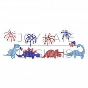 Row of four light sketch fill dinosaurs with fireworks embroidery design