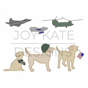 Dogs with military airplanes and helicopter sketch embroidery design