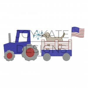 Vintage sketch patriotic tractor embroidery design for July 4th
