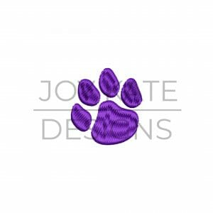 Mini satin fill stitch paw print embroidery design
