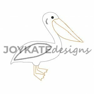 Quick Bean Stitch Pelican Bird Design for Machine Embroidery