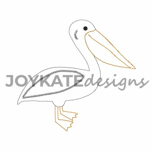 Quick Bean Stitch Pelican Bird Design for Machine Embroidery