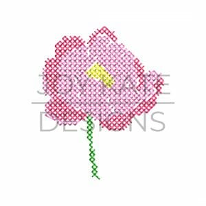 Mini Peony Cross Stitch Machine Embroidery Design