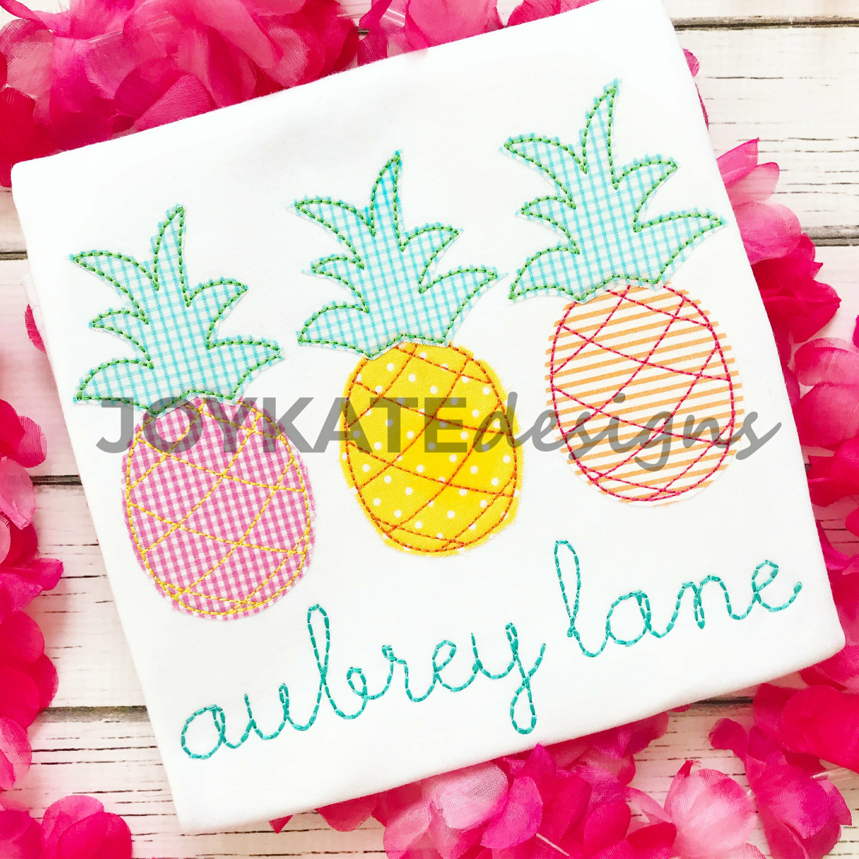 Pineapple Trio Bean Stitch Applique Embroidery Design Joy Kate Designs