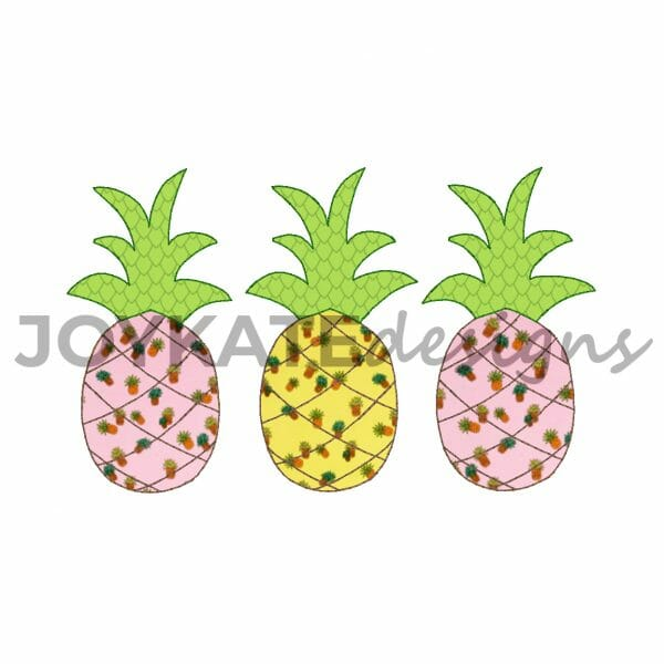 Vintage Bean Stitch Three in a Row Pineapple Design for Machine Embroidery
