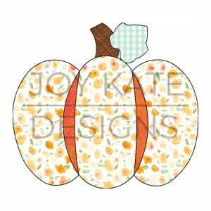 Vintage bean stitch pumpkin applique design for machine embroidery