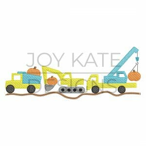 Fall Construction Vehicle Trio Light Fill/Low Density Embroidery Design