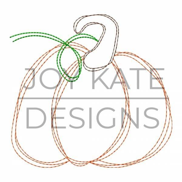 Scribble fall pumpkin embroidery design