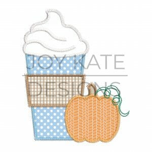 Pumpkin coffee applique design for machine embroidery