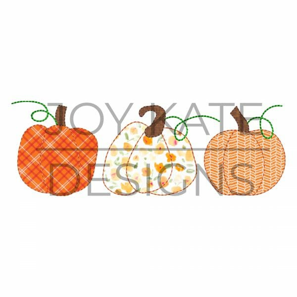 Vintage stitch fall pumpkin applique design for machine embroidery