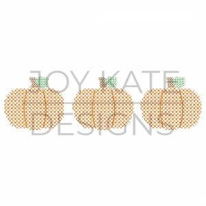 Cross stitch pumpkin trio design for machine embroidery