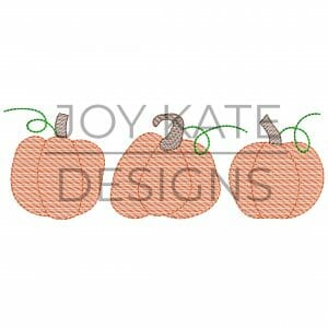 Fall Pumpkin Trio Light Fill/Low Density Embroidery Design