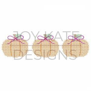 Cross stitch girl pumpkin trio design for machine embroidery