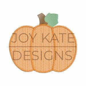 Fall Pumpkin Zigzag Applique Design with Sketch Fill Stem and Leaf