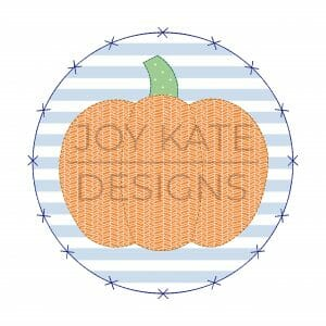 Vintage Bean Stitch Pumpkin with Criss Cross x Circle Patch Applique Design for Machine Embroidery