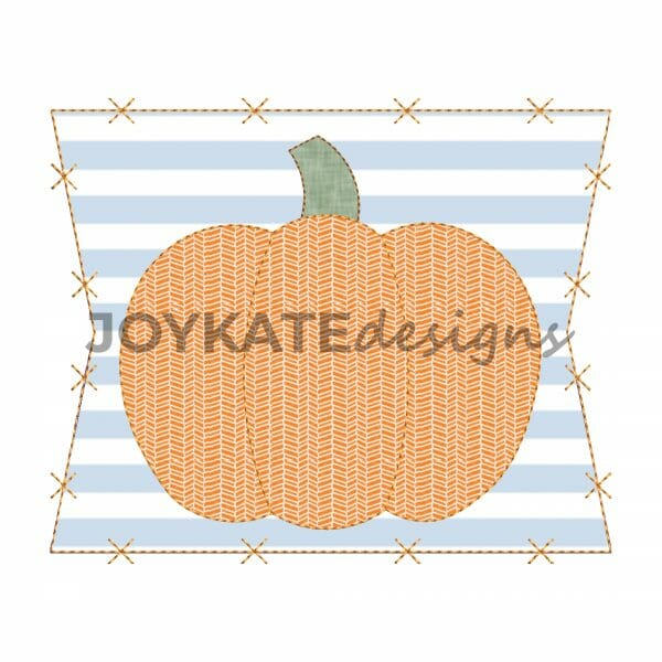 Vintage Bean Stitch Pumpkin with Patch Applique Design for Machine Embroidery