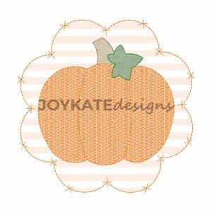 Vintage Bean Stitch Pumpkin with Criss Cross x Scallop Patch Applique Design for Machine Embroidery