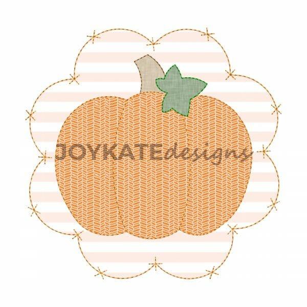 Vintage Bean Stitch Pumpkin with Criss Cross x Scallop Patch Applique Design for Machine Embroidery