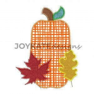 Vintage Zigzag Stitch Pumpkin and Fall Leaves Applique Design for Machine Embroidery