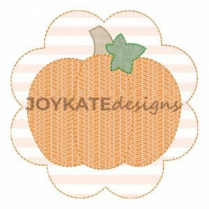 Vintage Bean Stitch Pumpkin with Scallop Patch Applique Design for Machine Embroidery