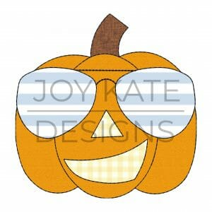 Pumpkin Face with Sunglasses Applique Design for Machine Embroidery