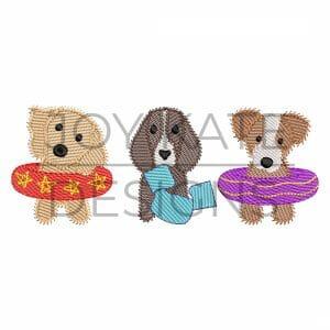 Sketch Swim Floatie Puppy Dogs Embroidery Design