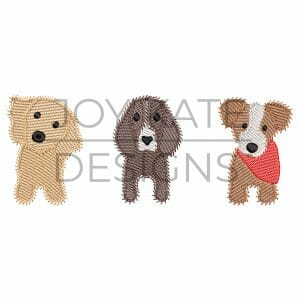 Sketch Puppy Dogs Embroidery Design