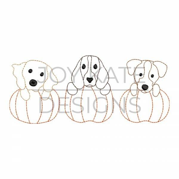 Fall Puppy Pumpkin Trio Vintage Embroidery Design