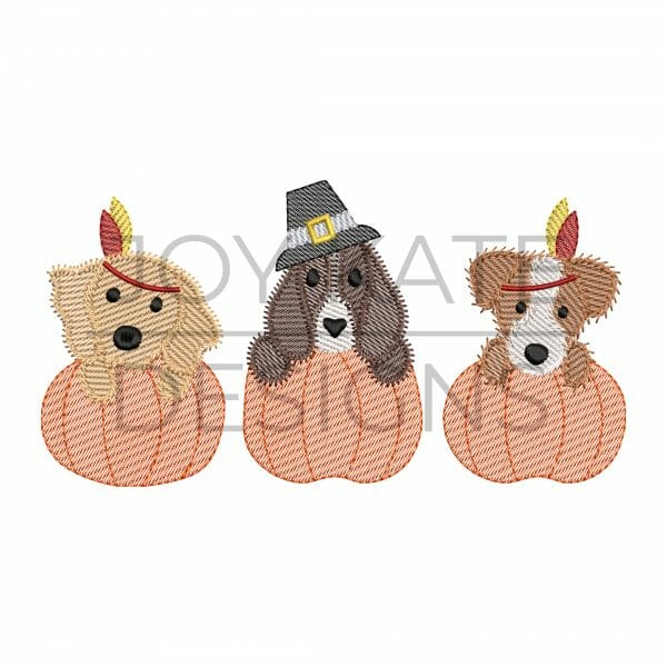 Thanksgiving dogs in pumpkins light sketch fill machine embroidery design