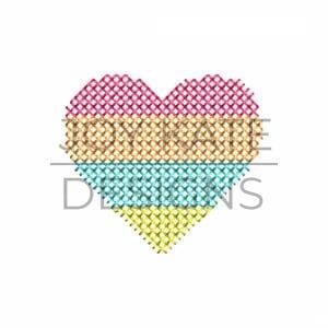 Rainbow Stripe Heart Cross Stitch Machine Embroidery Design