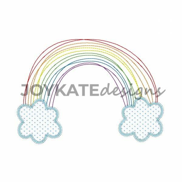 Quick Bean Stitch Rainbow with Zigzag Stitch Clouds
