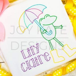 Vintage Rainy Day Frog with Umbrella Shadow Embroidery Design