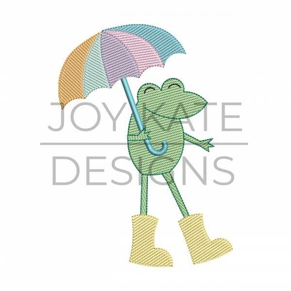 Spring Frog Sketch Machine Embroidery Design