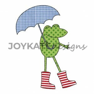Frog with Rainboots and Umbrella Raggy Applique'
