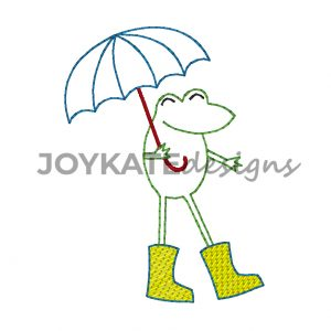 Bean Stitch Frog with Umbrella and Light Fill Rainboots for Machine Embroidery